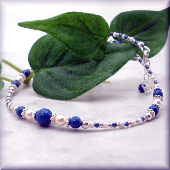 Sexy blue and white pearl ankle bracelet