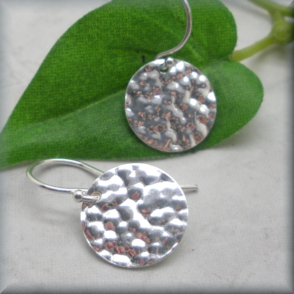 Hammered Circle Earring - Round Disc Earrings - Sterling Silver