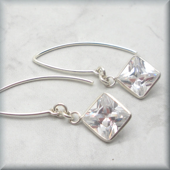 Cubic zirconia diamond shaped stones on sterling earwires