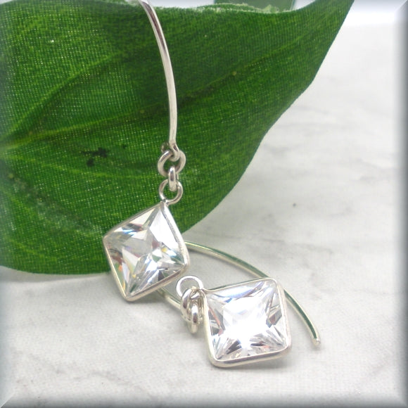 sterling silver earrings with diamond shape cz stones