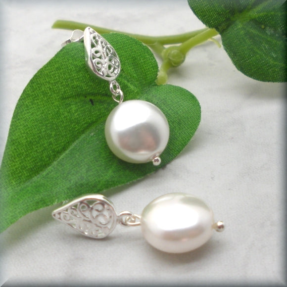 White Coin Pearl Drop Earrings in Sterling Silver with Filigree Posts
