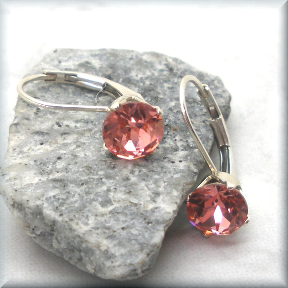Sterling silver leverback earrings with rose peach crystals