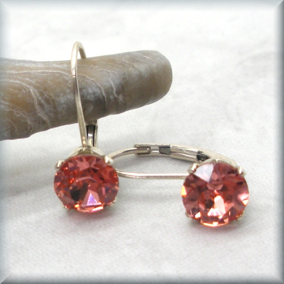 Rose peach crystal earrings