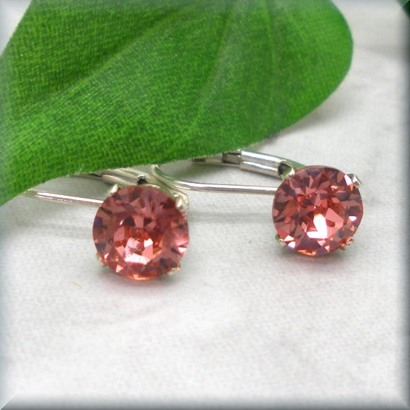 Rose peach crystal sterling silver leverback earrings