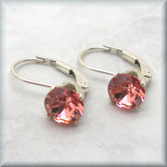 Rose peach Swarovski crystal earrings with sterling silver leverbacks