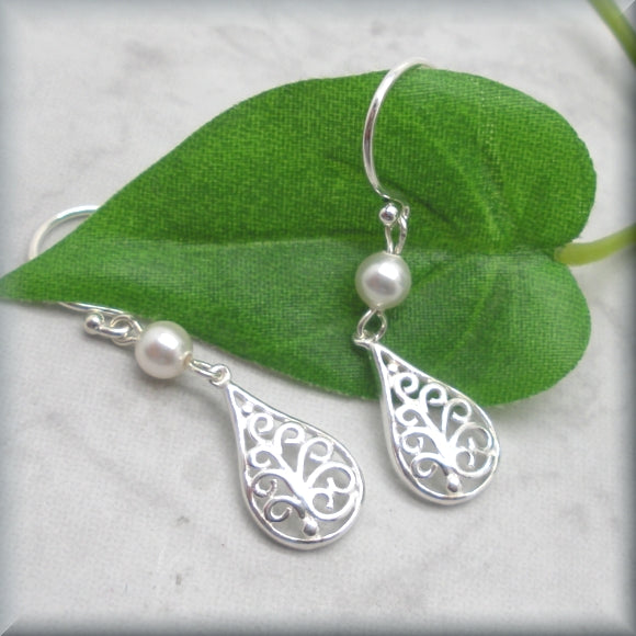 Silver Filigree Earrings with Pearl Accent - Sterling Silver - Bonny Jewelry