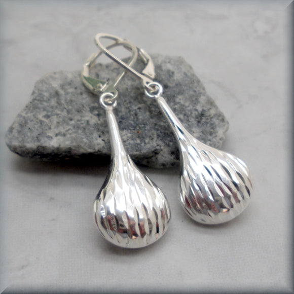 Diamond Cut Teardrop Earrings - Dangles - Sterling Silver