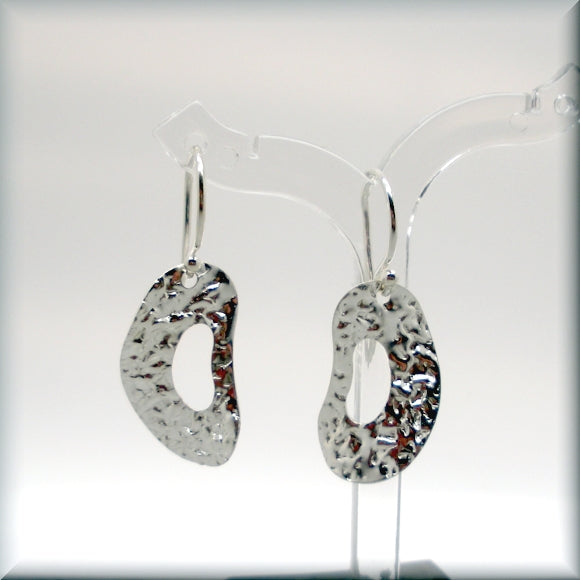 Wavy Textured Oval Silver Earrings - Sterling Silver - Bonny Jewelry
