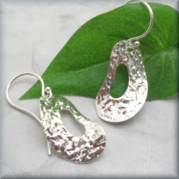 Wavy Textured Oval Silver Earrings - Sterling Silver
