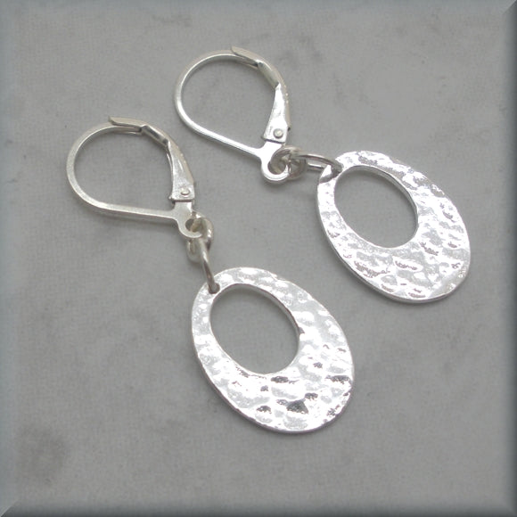 Hammered Oval Sterling Silver Earrings - Bonny Jewelry