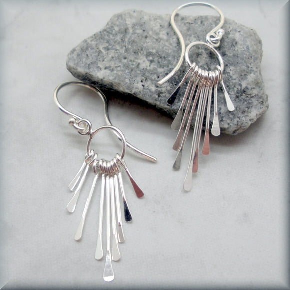 Paddle Fringe Earrings - Sterling Silver Dangle Earrings