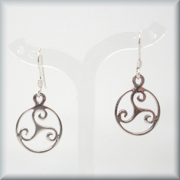 Celtic knot triskele earrings in sterling silver