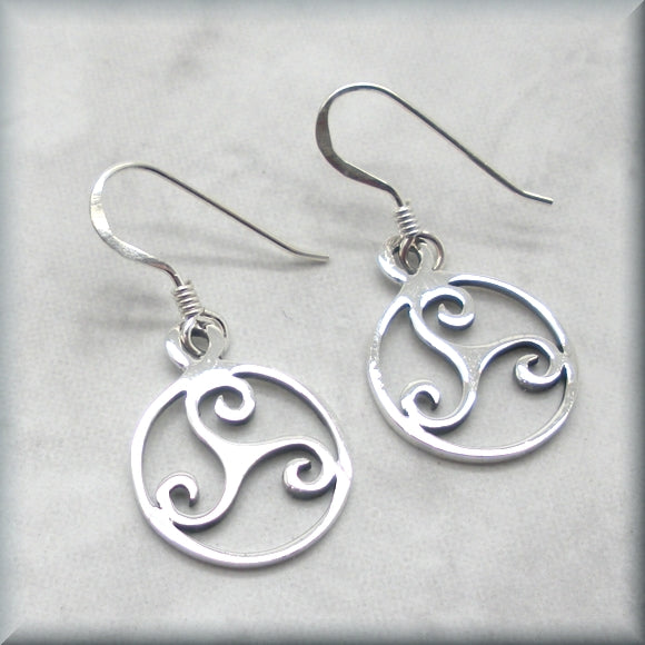 Irish knot sterling silver triskele earrings