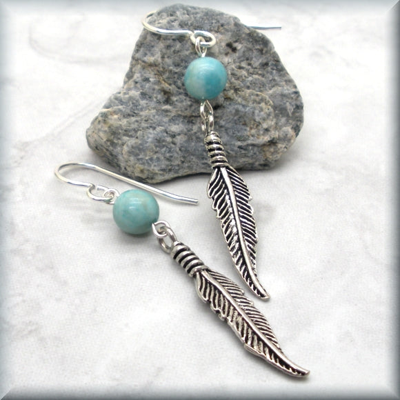 Turquoise Jasper and Feather Earrings