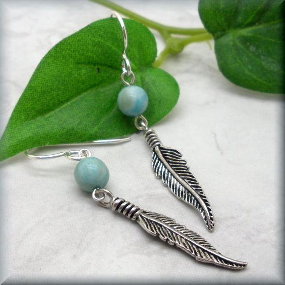 sterling silver feather earrings with jasper accent