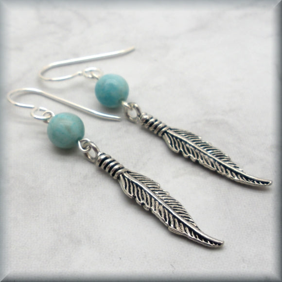gemstone earrings with sterling silver feathers