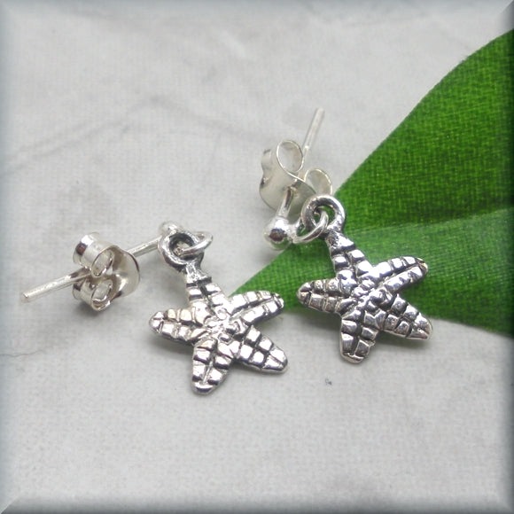 Tiny Starfish Earrings - Sterling Silver