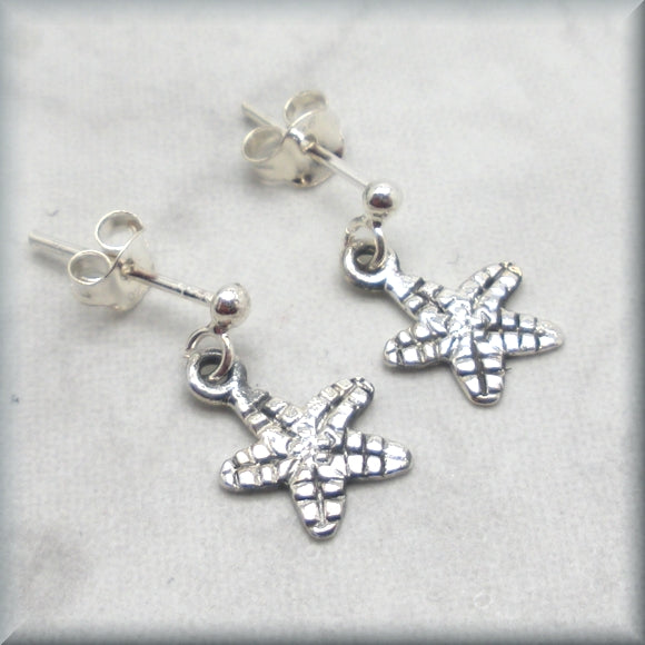 petite sea star earrings in sterling silver