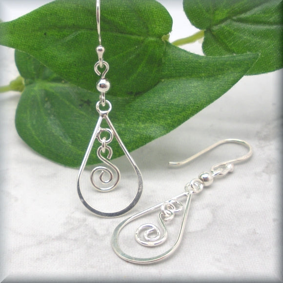 spiral teadrop earrings