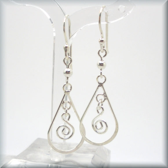 swirling sterling silver earrings