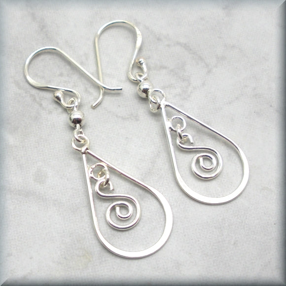 sterling silver swirl dangle earrings