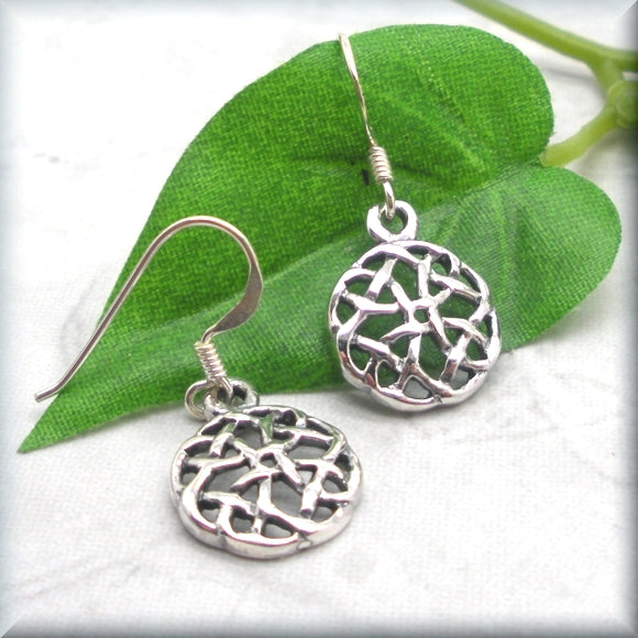 Round Celtic Knot Earrings - Sterling Silver