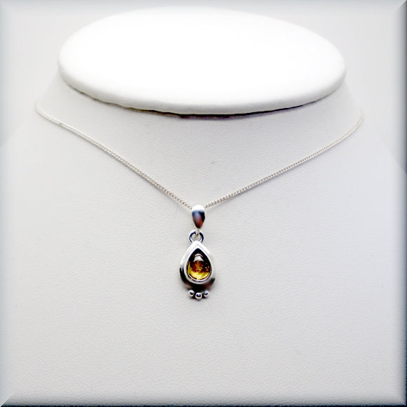 november birthstone citrine sterling silver necklace