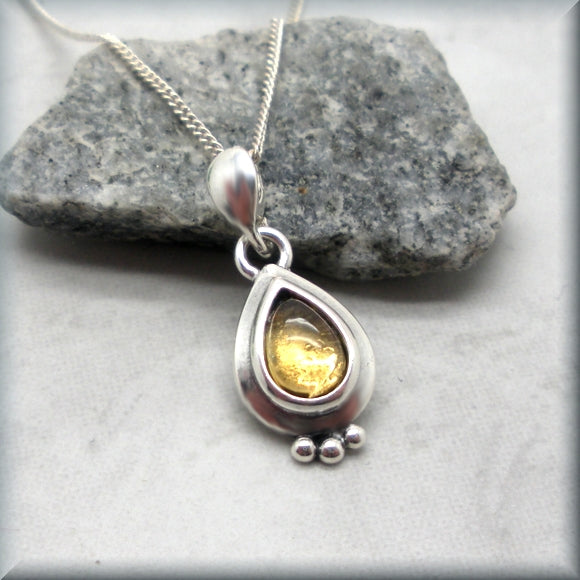 Pear shape citrine cabochon sterling silver necklace