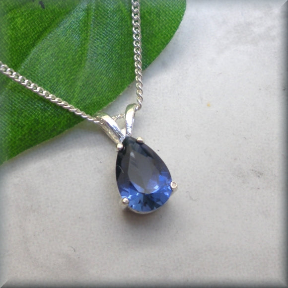 Pear Shape Blue Sapphire Necklace in Sterling Silver - Bella
