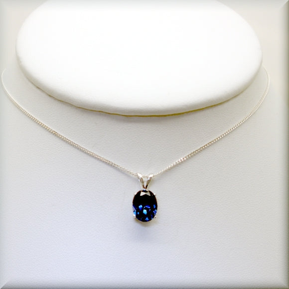 Blue Sapphire Necklace - Oval Blue Sapphire - September Birthstone - Bonny Jewelry