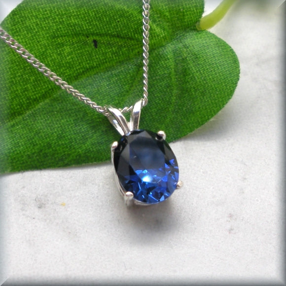 Oval Blue Sapphire Necklace - September Birthstone