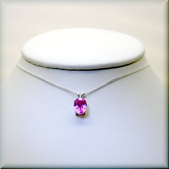 Oval Pink Sapphire Necklace - Sterling Silver Setting and Chain - Bonny Jewelry