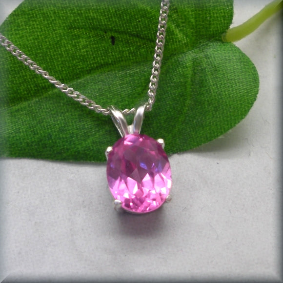Oval Pink Sapphire Necklace - October Birthstone