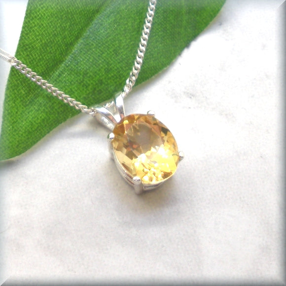 Oval Golden Citrine Necklace - Natural Gemstone - Sterling Silver - November Birthstone