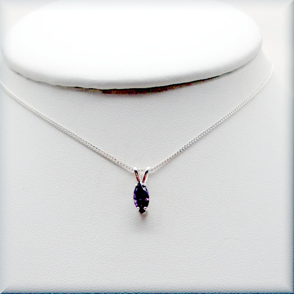 Purple amethyst cz necklace in sterling silver
