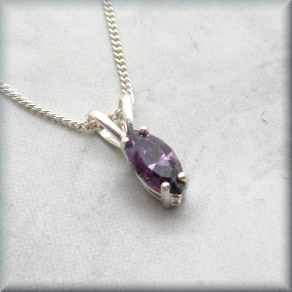 Marquise cut amethyst cubic zirconia necklace in sterling silver
