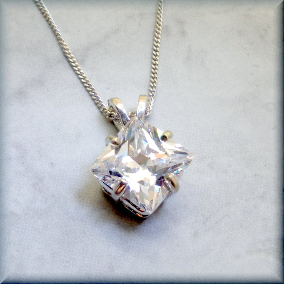 Princess cut cubic zirconia necklace
