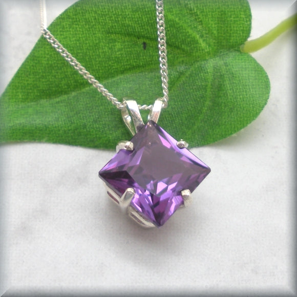Princess Cut Alexandrite Necklace in Sterling Silver - Alexa