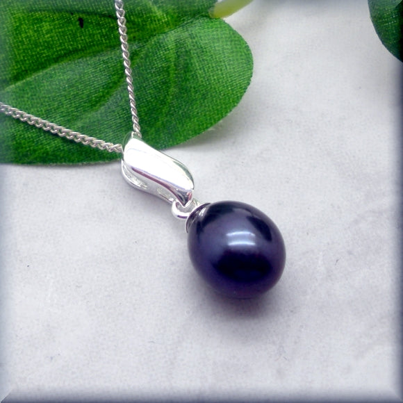 Black Pearl  Drop Necklace - Sterling Silver Wave Setting