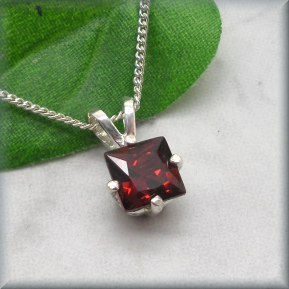 Garnet Necklace - Princess Cut Gemstone Necklace - January Birthstone