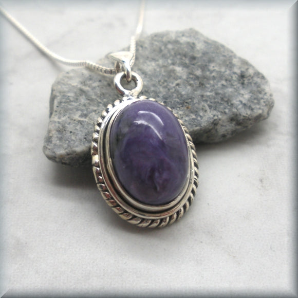 Charoite Necklace - Gemstone - Sterling Silver