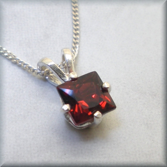 garnet gemstone necklace in sterling silver by Bonny Jewelry