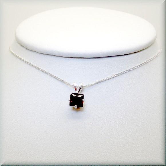 square garnet pendant on sterling silver chain by Bonny Jewelry