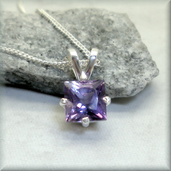 Square princess cut amethyst necklace February birthstone