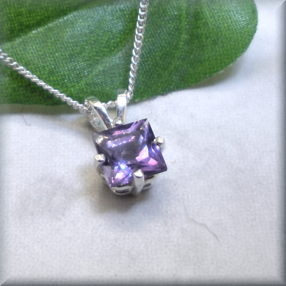 Princess Cut Amethyst Necklace - February Birthstone - Gemstone Necklace