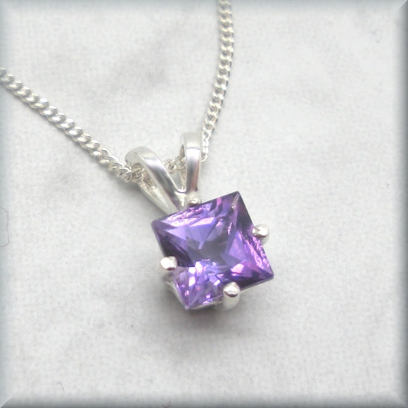 Princess cut amethyst necklace on curb chain