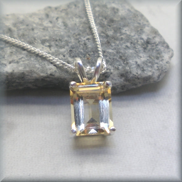 Golden Citrine Necklace - Emerald Cut Gemstone - Sterling Silver - November Birthstone