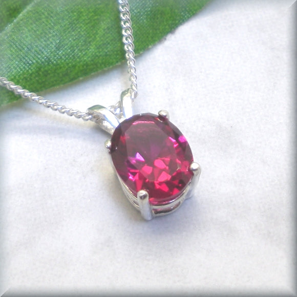 Ruby Necklace - July Birthstone - Oval Gemstone Necklace - Sterling Silver