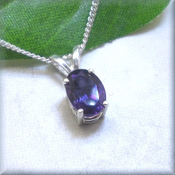 faceted amethyst necklace in an oval cut