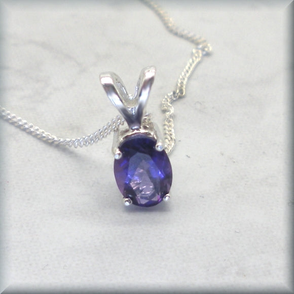 Oval Amethyst Necklace - February Birthstone - African Amethyst Gemstone Necklace